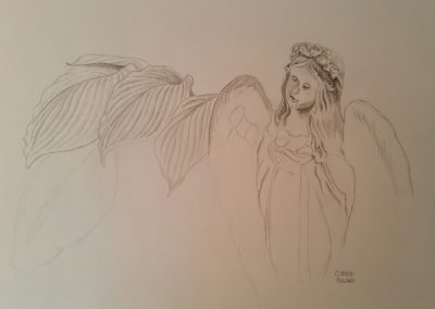 Angel with Hosta (Flower Study #6)